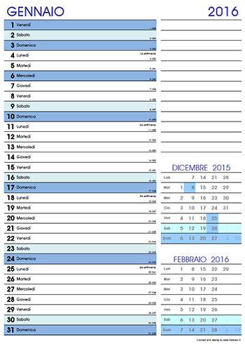 Calendario 2016 mensile da stampare