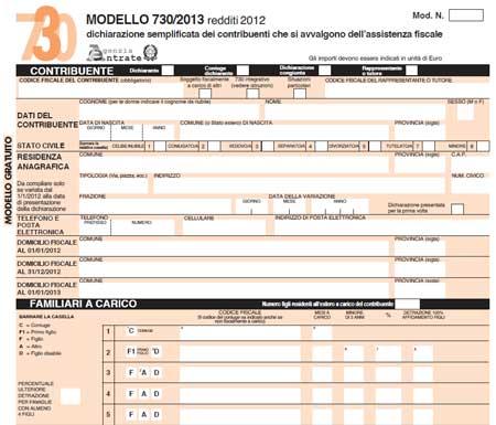 Modello 730 2013 in pdf da scaricare e stampare - Quando scade la presentazione del 730 ...