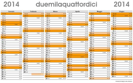 Calendario Con Numero Giorni.Planner 2014 Calendario Planning 2014 Da Scaricare Gratis