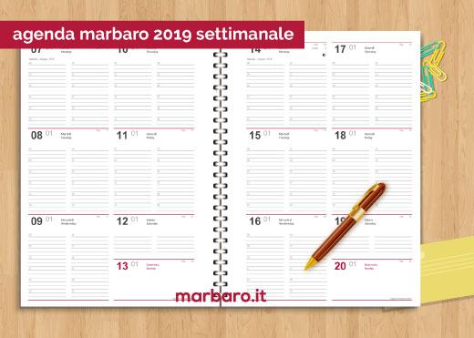 Pagina Calendario Settimanale.Agenda 2019 Settimanale Da Stampare In Pdf Da Scaricare Gratis