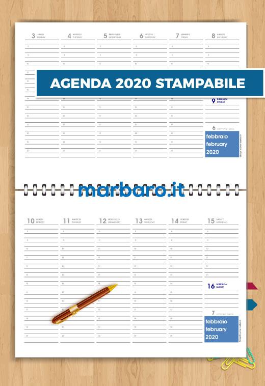 Calendario Da Tavolo 2020 Gratis.Agenda 2020 Da Tavolo In Pdf Stampabile Da Scaricare Gratis