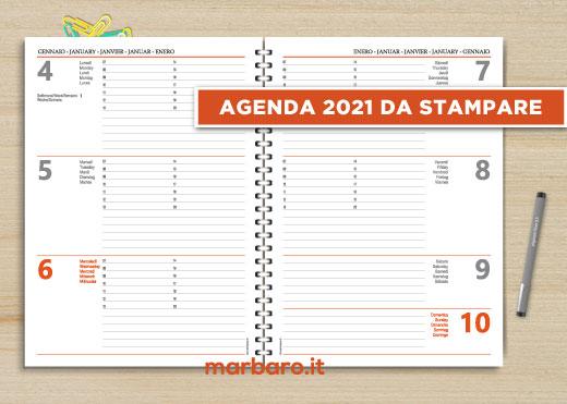 Agenda settimanale verticale 2021 in formato A4 da stampare