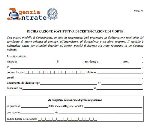 Modello autocertificazione di morte per agenzia delle entrate for Fac simile autocertificazione per detrazione materasso