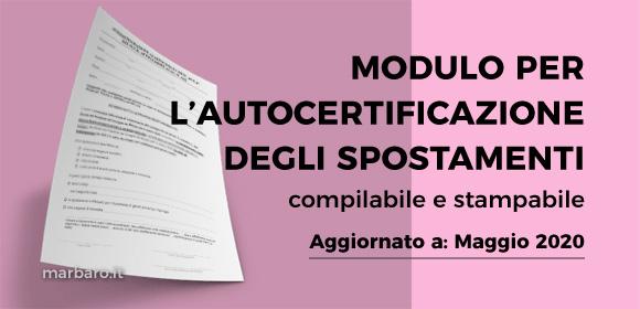 Autocertificazione spostamenti compilabile e stampabile 18 Maggio 2020