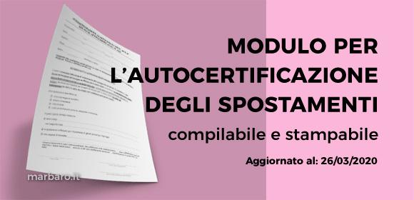 Autocertificazione spostamenti compilabile e stampabile 26 Marzo 2020