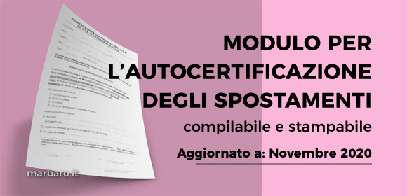 Autocertificazione spostamenti compilabile e stampabile Novembre 2020