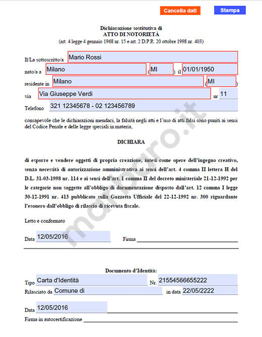 Moduli e modelli in pdf da scaricare gratis e stampare for Fac simile autocertificazione per detrazione materasso