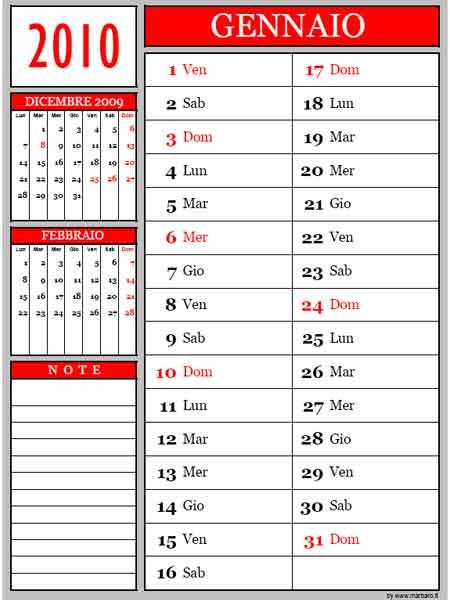 Calendario 12 mesi 2010