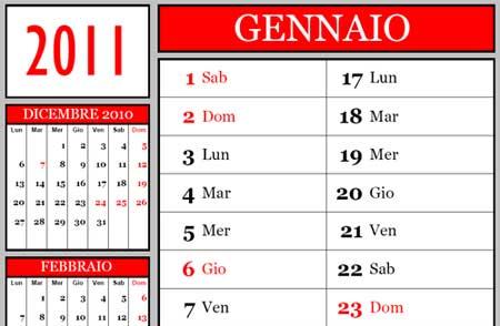2011 Calendario.Calendario 2011 Annuale Da Scaricare E Stampare