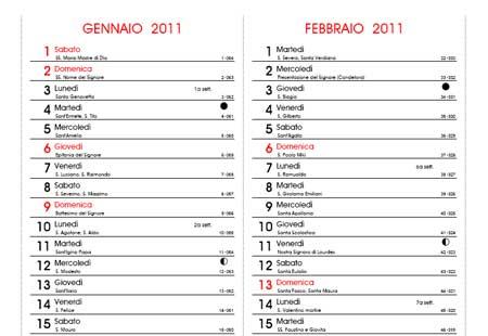 Calendario Con Numero Giorni.Calendario 2011 Con Santi Fasi Lunari E Festivita