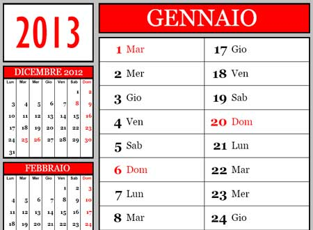 Calendario 12 Mesi.Calendario 2013 Mensile 12 Mesi Da Scaricare In Pdf