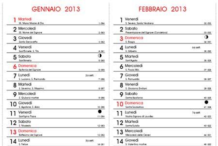 Santi Del Calendario.Calendario 2013 Con Santi E Fasi Lunari