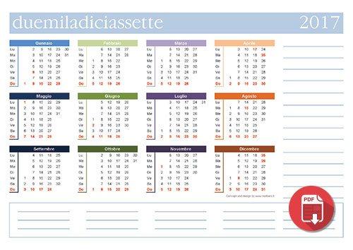 Calendario Anno 2017.Calendari 2017 Da Stampare Annuali Mensili Planner