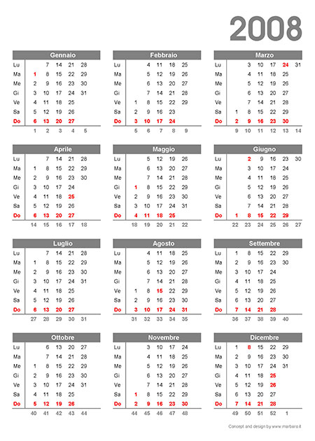 Calendario 2008.Calendario 2008 Da Stampare 3 Calendari In Pdf Stampabili