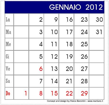 il PDF del Calendario 2012 da tavolo clicca qui (file .pdf, 30Kb