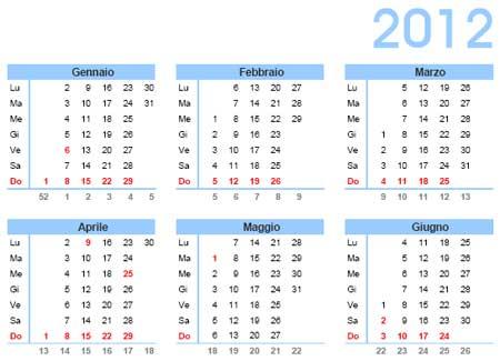 Calendario Solo Numeri.Calendario 2012 Da Scaricare Gratis E Stampare Annuale In Pdf