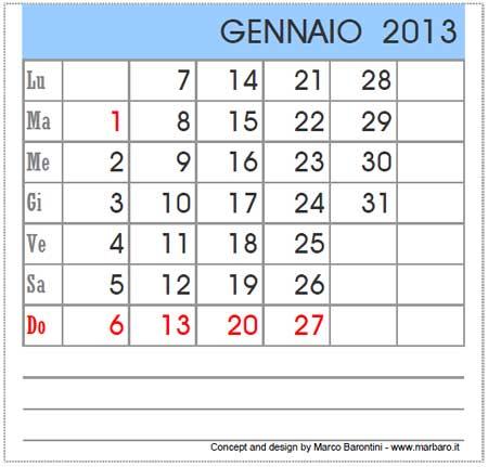 Calendario Gennaio 2014 - Con santi e fasi lunari