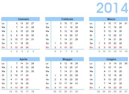 Calendario 2014 da stampare gratis in PDF