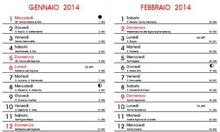 Calendario Con Numero Giorni.Calendario 2014 Con I Santi E Le Fasi Lunari