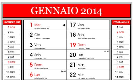Calendario 2014 in PDF con santi e fasi lunari da stampare