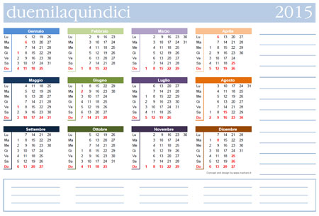 Calendario Anno 2015.Calendario 2015 Da Stampare Scarica Gratis Il Calendario