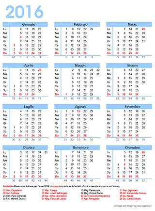 Rossi Sul Calendario.Calendario 2016 Italiano Con I Giorni Festivi E Le Ricorrenze