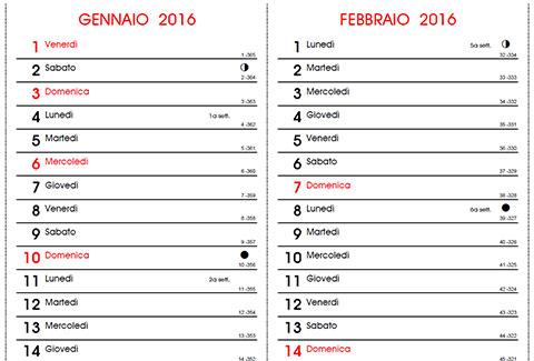 Calendario Con Numero Giorni.Calendario 2016 Con Santi E Lune Fasi Lunari Da Stampare