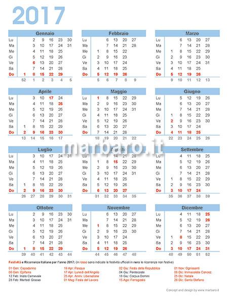 Calendario Solo Numeri.Calendario 2017 Italiano Con Le Festivita Dell Italia