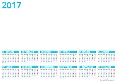 Calendario 2017 per Photoshop