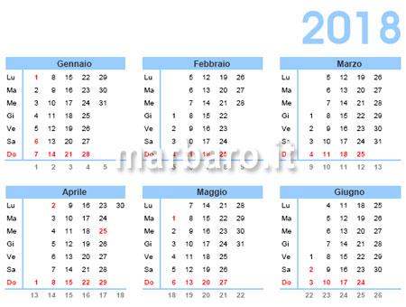 Settimane Calendario.Calendario 2018 Da Stampare Scarica Gratis In Pdf
