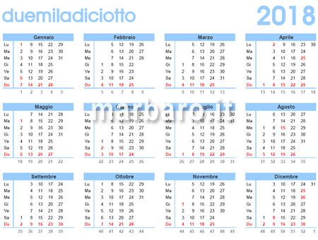 Calendario 2018 da stampare. Scarica gratis in PDF