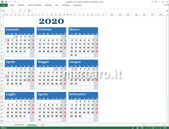 Calendario In Excel 2020.Htfyl Howtosingforyourlife