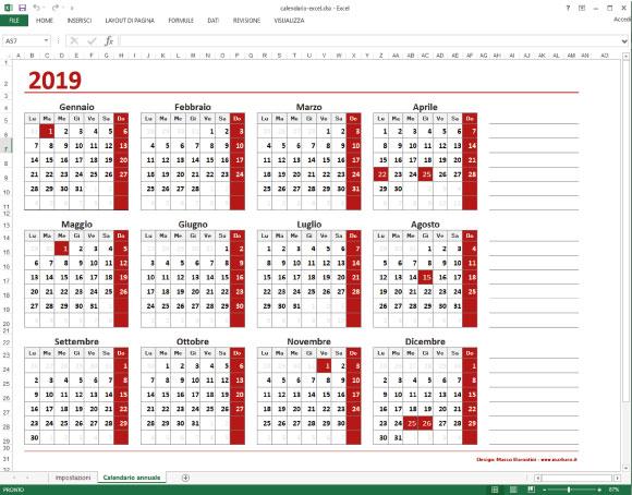 Calendario 2021 Annuale Excel Calendario Excel annuale da scaricare gratis