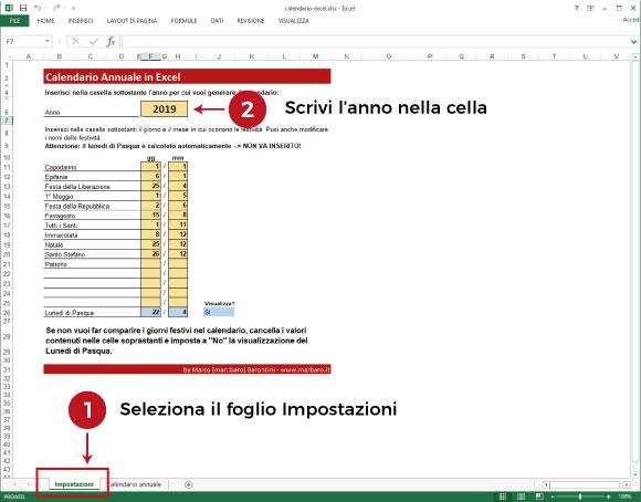 Calendario Annuale Excel.Calendario Excel Annuale Da Scaricare Gratis
