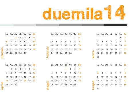 Calendario Anno 2014.Calendario Annuale 2014 Da Stampare