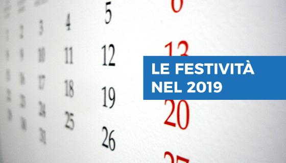 Calendario Festività 2019 in Italia