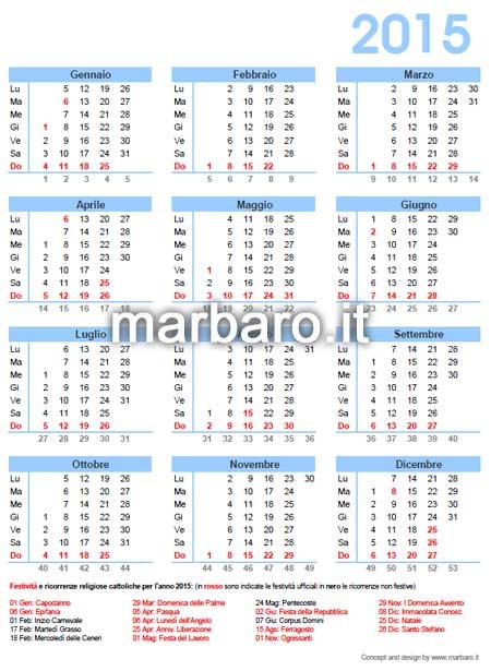Calendario 2014 da stampare - Con festività, santi e fasi