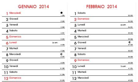 Calendario Gennaio 2011 - Con santi e fasi lunari