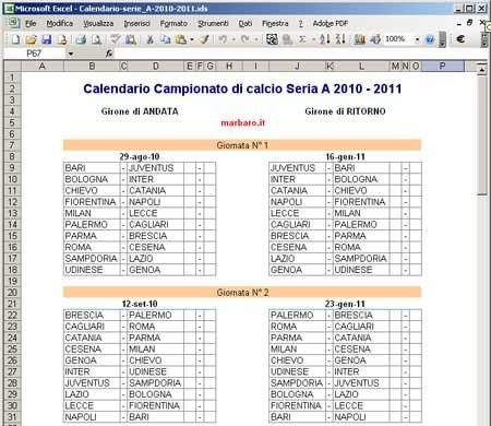 Calendario Campionato Di Calcio.Calendario Serie A 2010 2011 Da Scaricare