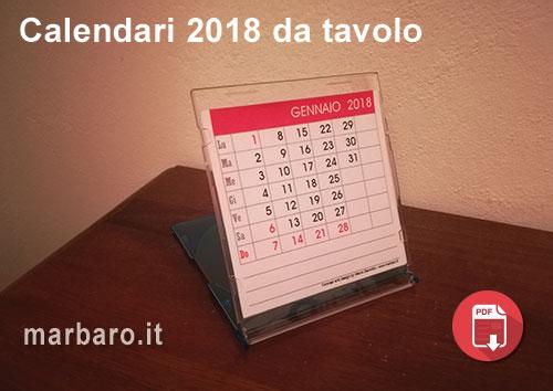 Calendari 2018 da stampare con le festivit italiane - Calendario 2017 da tavolo ...