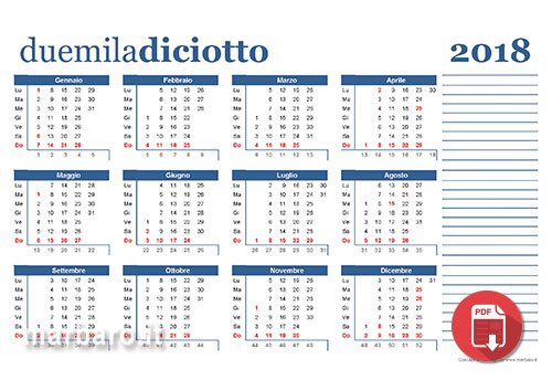 Calendario Solo Numeri.Calendario 2018 Da Stampare Scarica Gratis In Pdf