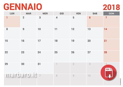 calendario annuale 2018 excel da