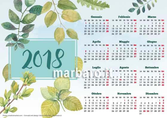 Calendario 2018 illustrato annuale o mensile da stampare - Calendario da tavolo con foto proprie ...