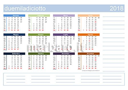 Calendario 2018 stampabile in PDF