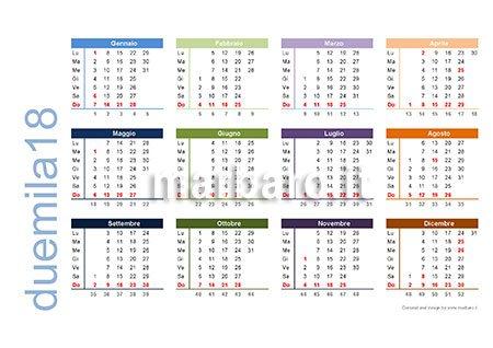 Calendario Con Numero Settimane.Calendario 2018 Da Stampare Scarica Gratis In Pdf