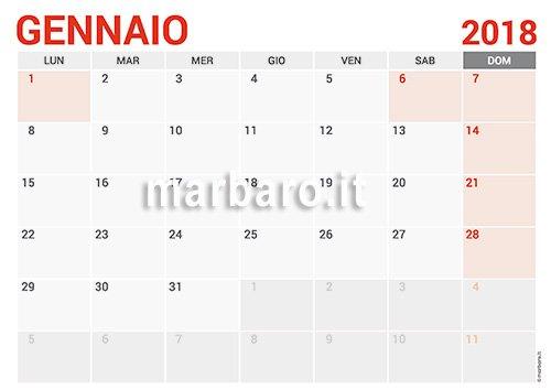 calendario mensile 2018 excel da