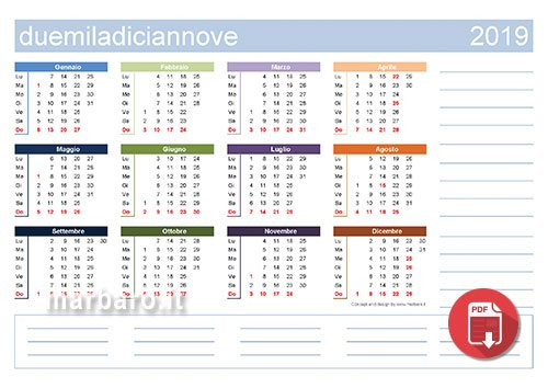 Calendario Con Festivita 2019.Calendari 2019 Con Le Festivita Italiane In Pdf Da Stampare
