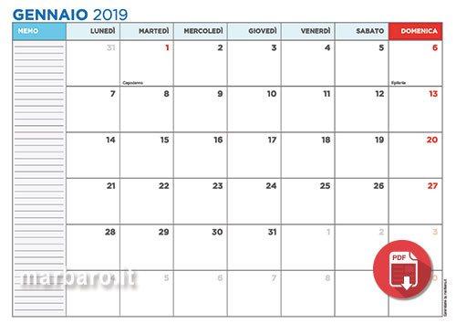 Calendario Annuale Da Stampare 2019.Calendari 2019 Con Le Festivita Italiane In Pdf Da Stampare