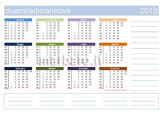 Calendario 2019 Con Numero Week.Calendario 2019 Da Stampare 9 Pdf Da Scaricare Gratis