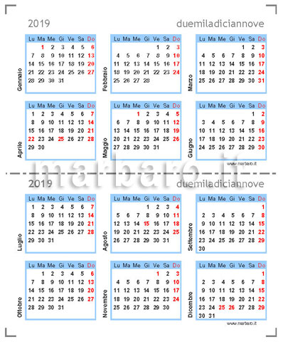 Calendario 2019 compatto e tascabile